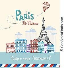 Paris post card - Eiffel tower in Paris, post card in doodle...