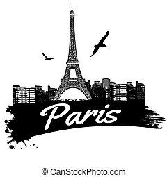 Paris poster - Paris in vitage style poster, vector...