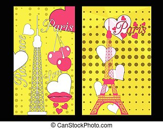 Paris poster with heart. Romantic collage from the Eiffel Tower, a cherry and a kiss. France. Vector illustration.