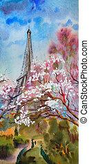 paris, primavera, árvore, aquarela, florescer, quadro, paisagem