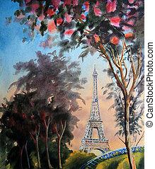 paris, primavera, eiffel, árvore, aquarela, florescer, torre, quadro, paisagem