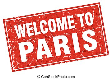 Paris red square grunge welcome to stamp