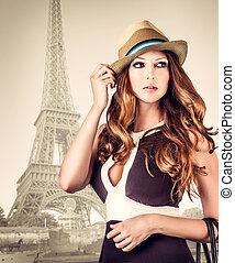 paris, retrato, mulher, moda