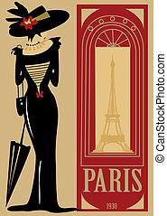 Paris,, retro, character, mode, fashion, Eiffel Tower, city, dress, monument, symbol, on 1900, lady, old, time, period,