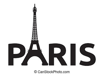 paris, retro, torn, kort, -, eiffel