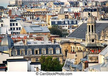Scenic view on rooftops in Paris France