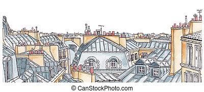 Paris rooftops skyline
