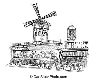 paris, rouge, moulin