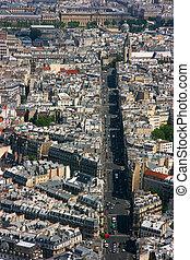 Paris rue de Rennes aerial view