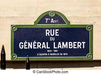 Rue du General Lambert - old street sign in Paris - Paris - ...
