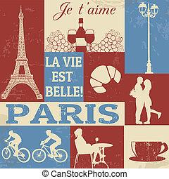 paris, símbolos, cartaz