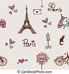 Paris seamless pattern background