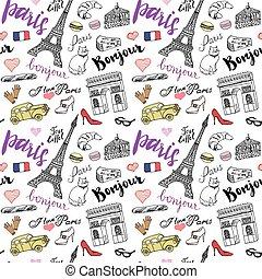 Paris seamless pattern doodle