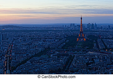 paris, -, setembro, 30:, torre eiffel, à noite, ligado,...