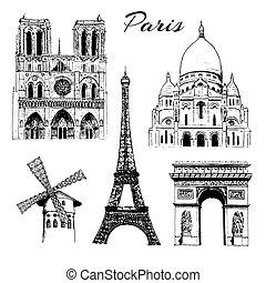 Set of Paris symbols. Eiffel tower, Notre Dame, Arc de Triomphe, Basilica of Sacre Coeur, Moulin Rouge. Vector hand drawn sketch illustration. City panorama. France. architecture, travel, poster