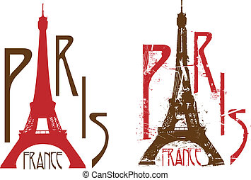 Paris sign with Eiffel tower as letter A. Grunge and clean versions