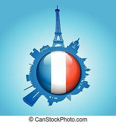 paris, silhouette horizon, drapeau, globe