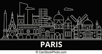 Paris silhouette skyline. France - Paris vector city, french linear architecture, buildings. Paris travel illustration, outline landmarks. France flat icon, french line banner