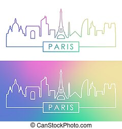Paris skyline. Colorful linear style.