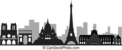 paris skyline france with tower and other monuments