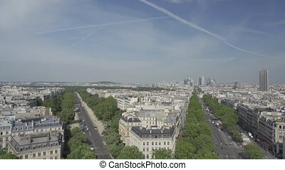 Paris Skyline From The Triumphal Arch, France, native...