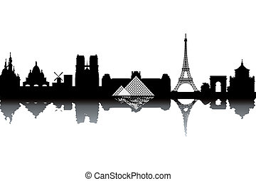 Paris skyline - black and white vector illustration
