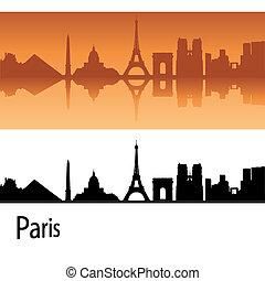 Paris skyline in orange background