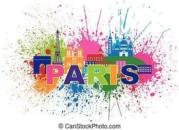 Paris Skyline Paint Splatter Text Color Illustration