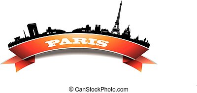 Paris Skyline Silhouette banner