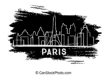 Paris Skyline Silhouette. Hand Drawn Sketch.