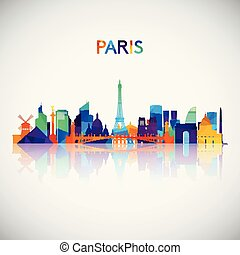 Paris skyline silhouette in colorful geometric style.