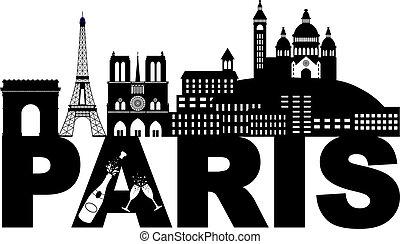 Paris Skyline Text Champagne Black and White Illustration