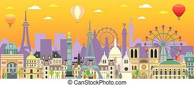 Paris skyline vector 11