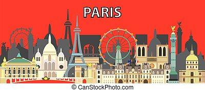 Paris skyline vector 12