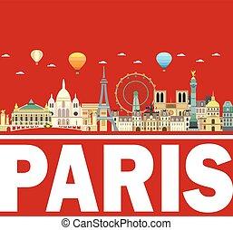 Paris skyline vector 13