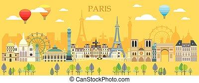 Paris skyline vector 14