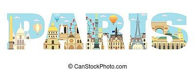 Paris skyline vector 15