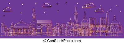 Paris skyline vector 17