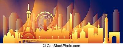 Paris skyline vector 19