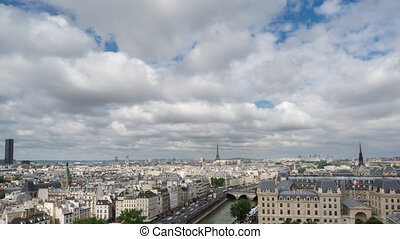 Paris skyline with Eiffel Tower in Paris, Time Lapse -...