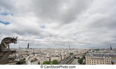 Paris skyline with gargoyle, Eiffel Tower, Paris, Time Lapse...