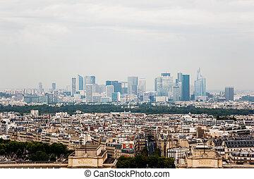 Paris skyline with La Defense in the