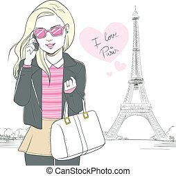 paris, smartphone, femme, mode