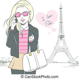 Paris,  smartphone, mulher, moda