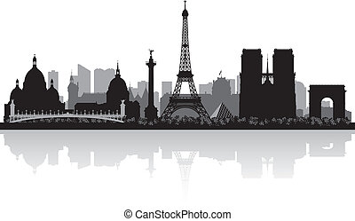 paris, stad horisont, silhuett, frankrike