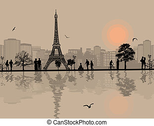 paris, stadsbild, silhoue, folk
