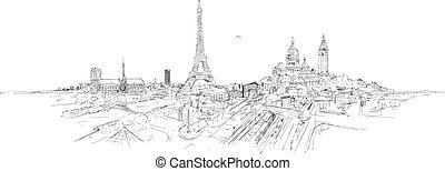paris, stadt, skizze, panoramisch