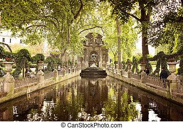 Paris - PARIS, FRANCE, August 9, 2014: Medici Fountain in...