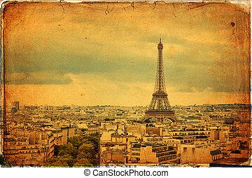Paris - Panoramic view of Paris in vintage style