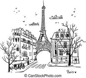 paris, straßen, vektor, abbildung, skizze